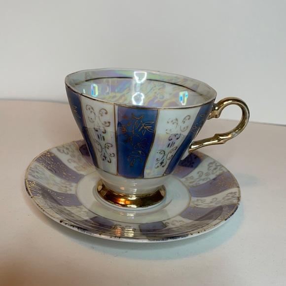 Iridescent tea cup and saucer set Japan